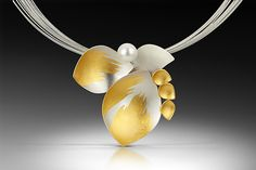 In Bloom Necklace by Judith Neugebauer: Gold & Silver Necklace available at www.artfulhome.com