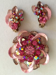 Vintage Pink Rhinestone and Enamel Rose Brooch & Earring Set fabulous summer jewelry by GiosGems1 on Etsy