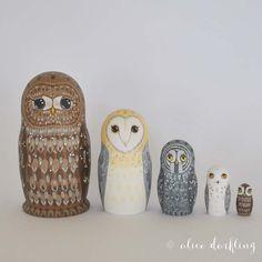Owl Nesting Dolls Matryoshka / Russian / Babushka by AliceDarkling