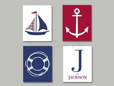 Harper Boats Nursery Nautical Nursery by NauticalDecorShop on Etsy, $40.00