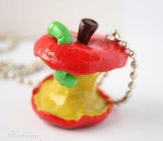 Naszyjnik ogryzek/Polymer clay apple core nacklace  #polymerclay #applecore #necklace