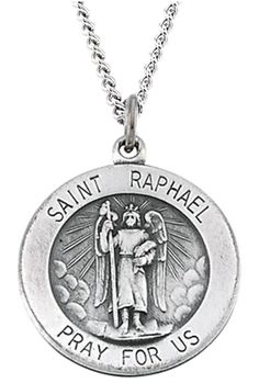 """Antiqued Sterling Silver St. Raphael Necklace, 18"""" (18MM). St. Raphael Medal Measures .71 Inches in Diameter; A Bit Larger than a Dime and Smaller than a Penny. 18.00 Millimeters Saint Raphael Medal Crafted in Polished and Antiqued Sterling Silver. Suspended by a Sterling Silver, Flat Curb Chain, 18.00 Inches Long and 1.50 Millimeters Wide Finished with a Spring Ring Clasp. St. Raphael, Patron Saint of Travelers, Meetings, Lovers, Nurses, Physicians, The Blind, Matchmakers and Good…"""