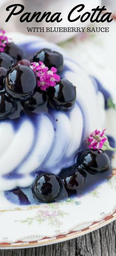 Vegan Coconut Panna Cotta with Blueberry Sauce is a light and refreshing way to end any meal! | theviewfromgreatisland.com