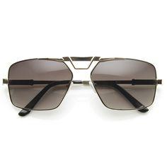 Modern Mens GQ Fashion Large Square Metal Frame Aviator Sunglasses 898 | zeroUV