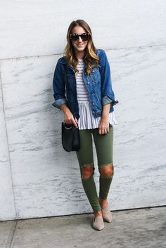 Twenties Girl Style - A personal style diary Casual Fall Outfits, Winter Outfits, Summer Outfits, Cute Outfits, Olive Skinny Jeans, Distressed Skinny Jeans, Light Jean Jacket, Olive Shirt, Girl Style
