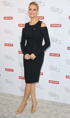 Classic look: The looked far younger than her years in the figure-hugging LBD, complete with a mid-length hemline and sexy cut-out shoulders Vernon, Lbd, Classic Looks, Mid Length, Hemline, Red Carpet, Peplum Dress, Awards, British