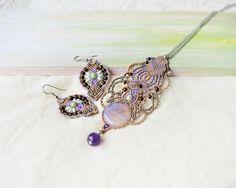 Micro-macrame necklace bohemian macrame jewelry by MartaJewelry