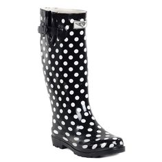 Forever Young Women's Glossy Polka-dot 14-inch Low-heel Mid-calf Rain Boots