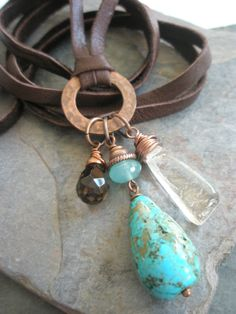 Collar de piedras preciosas Bundle cuarzo ahumado por esdesigns65, $60.00