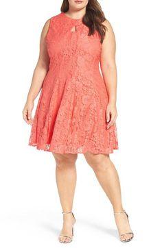 Keyhole Bodice Lace A-Line Dress (Plus Size) by Gabby Skye