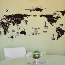 Venta CALIENTE 1 unids 130x70 cm Grandes Global World Map Atlas Pared Del Vinilo Del Arte Decal Sticker(China (Mainland))