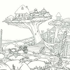 Legendary Worlds Adult Colouring Book Treehouses By Witek