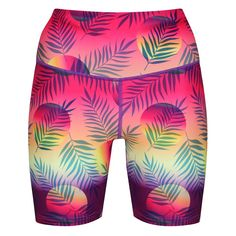 Stand Out On Your Runs With Tikiboo's Tikitropics Running Shorts. Featuring Palm Leaves Floating Over Warm Pinks, Purples And Yellow Making Them The Perfect Motivation For Summer Training. Running Shorts, Workout Shorts, Workout Tops, Compression Vest, Mens Measurements, Skin Tight, New Model, Bikini Fashion, Things That Bounce