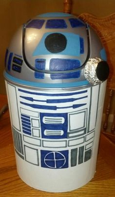 My son loves Star Wars so we made a R2D2 valentine box out of a trash can.