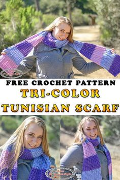 Tunisian Stitch Learn how to crochet the Tri-Color Tunisian Scarf using the Tunisian Knit and Purl stitch using this free crochet pattern. The stitch comes with a Photo and Video tutorial also. It's an easy beginner crochet pattern that is free. Easy Beginner Crochet Patterns, Tunisian Crochet Patterns, Crochet For Beginners, Crochet Gloves, Crochet Scarves, Crochet Cowls, Crochet Afghans, Knit Purl Stitches, How To Purl Knit
