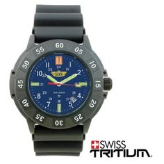 Protector Tritium, Blue Face, Rubber Strap - Features rotating bezel, screw down crown, water resistant to 200 M, hardened mineral crystal. The hands have green Tritium and the markers at 12, 3, 6 and 9 feature the new Orange Tritium.