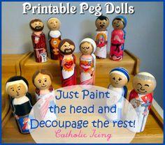 Printable saint peg dolls to decoupage from CatholicIcing. $