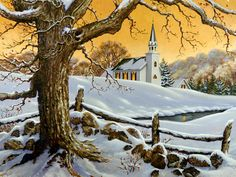 """""""As December days grow short and the nights grow long and cold, Christmas is a bright beacon that warms every heart. Winter Landscape, Landscape Art, Landscape Paintings, Winter Painting, Winter Art, Winter Pictures, Christmas Pictures, Christmas Scenes, Christmas Art"""
