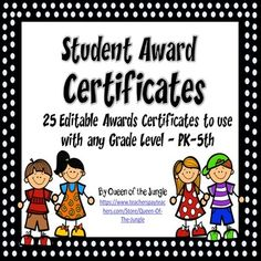 This collection of customizable Student Awards and Certificates are great to reward students for academic and behavioral success. They are perfect for end of year awards but can be customized to use at any time of the year.