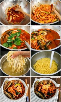 Homemade Korean spicy seafood noodle soup (Jjamppong) - A popular Korean Chinese noodle dish. It's refreshing and is loaded with generous amount of seafood!Best Dishes to Taste in Korea - list of 33 must eat Korean foodUse Shirataki noodles. Chinese Noodle Dishes, Korean Dishes, Seafood Soup, Seafood Recipes, Cooking Recipes, Seafood Salad, Seafood Pho Recipe, Beef Recipes, Spicy Shrimp Recipes