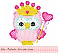 Princess owl digital applique -4x4 5x7 6x10-Machine Embroidery Applique Design
