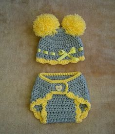 Adorable crochet grey and yellow newborn baby by fridaysfactory