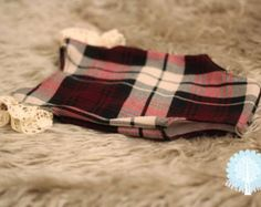 Newborn Tartan Romper with Vintage Lace Christmas Baby Girl  UK Seller LouLouBoutique Photography Props