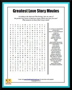 ... bring to mind? #movies #wordsearch #puzzle #printable #love stories