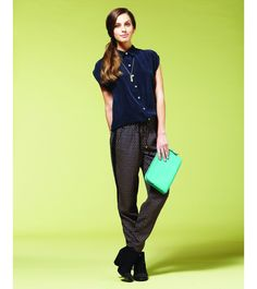 Try this match. The navy Luxe Cupro Blouse with our Gatley printed trousers.
