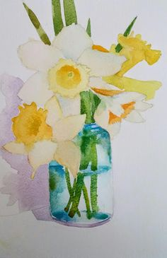 Working on more daffodils, and thought this one was going pretty good, but there's something wrong with the paper. Watercolor Paintings For Beginners, Watercolor Projects, Watercolor Cards, Watercolor Illustration, Watercolor Flowers, Art Floral, Autumn Painting, Leaf Art, Daffodils