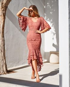 The Reyna Dress in Mauve has a sweetheart neckline with delicate custom lace detailing on the bodice. It has a flute sleeve that ends at the elbow and high-low mermaid skirt featuring double layer Mauve Dress, Lace Midi Dress, Sisters The Label, Mermaid Skirt, Event Dresses, Casual Dresses, Fashion Week, Lace Detail, Fashion Dresses