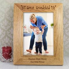 Personalise this Great Grandchild portrait wooden frame with a message over 2 lines of 30 characters per line The words Great Grandchild is fixed Personalized Gifts For Grandparents, Personalized Gift Cards, Personalized Photo Frames, Engraved Photo Frames, Elijah Wood, Photo Engraving, Favorite Holiday, Grandchildren, Special Gifts