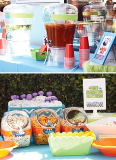 kids food at adorable 1st birthday party.   love the setup! goldfish, puffs, etc. monster-munchies