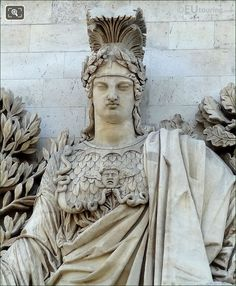 Close Up HD Picture Of La Paix De 1815 Statue At The Arc De Triomphe