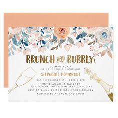 Peach & Blue Flowers Golden Bridal Brunch & Bubbly Invitation Invitation Layout, Invitation Text, Brunch Invitations, Floral Invitation, Bridal Shower Invitations, Blue Flowers, Mauve Wedding, Bubbles