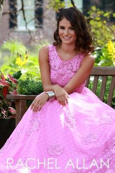 Two-piece ball gown with dotted lace skirt and beaded lace top Rachel Allan Magenta prom dress at Ashley Rene's Elkhart, IN 574-522-7766 We ship nationwide. #wedressthebest #ashleyrenesgirl #prom