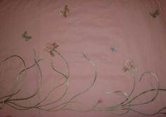 Irises on rose for bedcover. Artist Polina Volynskaya