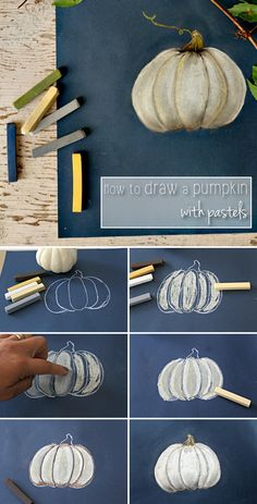 How to draw a pumpkin using pastels! Such a helpful tutorial. Anyone can do it with these simple instructions