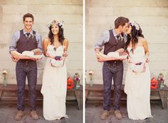 Bohemian wedding - yep. Jeans, vest, tie