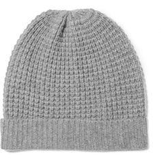Madeleine Thompson Holby waffle-knit cashmere beanie found on Polyvore featuring accessories, hats, beanie, light gray, waffle beanie, beanie cap hat, beanie cap, madeleine thompson and waffle knit beanie