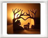 Lampe de chevet en bois naturel à poser
