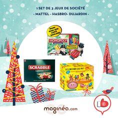 le set de jeux de société classique :   Mattel Scrabble Classique : http://www.maginea.com/fr/fr/c2203/p200910020190/scrabble+classique/   Hasbro Monopoly électronique - Nouvelle version 2014 : http://www.maginea.com/fr/fr/c2203/p201408070195/monopoly+electronique+nouvelle+version+2014/   Dujardin Cochon qui Rit encore Plus ! : http://www.maginea.com/fr/fr/c2203/p201406090108/cochon+qui+rit+encore+plus/