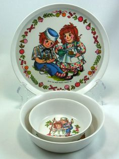 Vintage Raggedy Ann and Andy Baby/Toddler Plate and Bowls Oneida Dinnerware For…