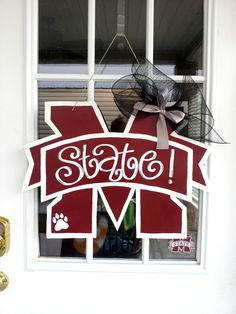 Mississippi State University - M State $25 Door Decor & Gifts by Southern by Design - Shop at www.facebook.com/Southern by Design or www.SouthernbyDesignCo.etsy.com.