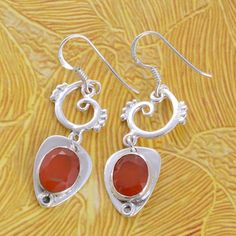 925 STERLING SILVER EXCLUSIVE RED ONYX EARRING 5.03g DJER2034 #Handmade #EARRING