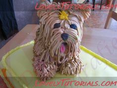 3D carved Yorkshire dog cake tutorial