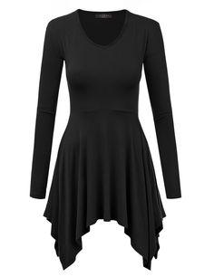MBJ WT1144 Womens V neck Long Sleeve Pleats Tunic Top M BLACK