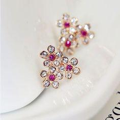 Image of [grxjy5300129]Elegant Sweet Rhinestone Flower Studs Earrings