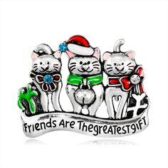 Festive Three Cat Christmas Brooch Pin