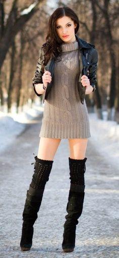 Summer dress knee high boots 7 lift